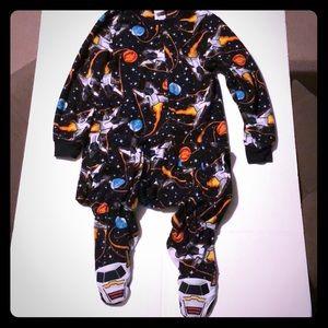 Boys size small spaceship fleece footed pajamas